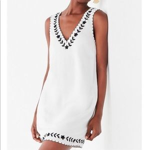 UO Valencia Embroidered Shift Mini Dress